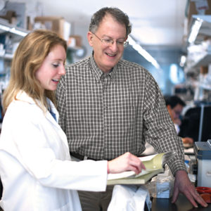 Assisted by many ­talented students and postdoctoral fellows, such as Jeanette Gehrig, ­pioneering researcher Jeffrey I. Gordon, MD, has been studying the ­microbial ­communities that colonize the human gut for more than two ­decades, and his work has ­revolutionized our understanding of human ­biology. (James Byard/Washington University)