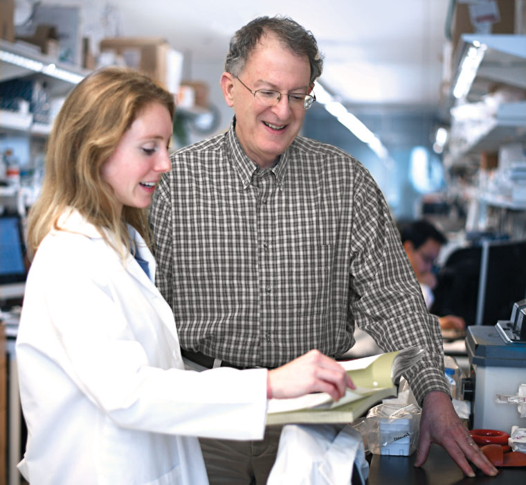 Assisted by many talented students and postdoctoral fellows, such as Jeanette Gehrig, pioneering researcher Jeffrey I. Gordon, MD, has been studying the microbial communities that colonize the human gut for more than two decades, and his work has revolutionized our understanding of human biology. (James Byard/Washington University)