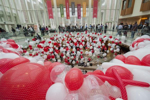 balloon drop at Olin