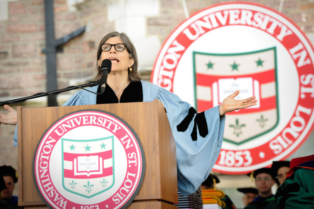 Anna Quindlen delivering the 2017 Commencement address at Washington University in St. Louis Friday, May 19.