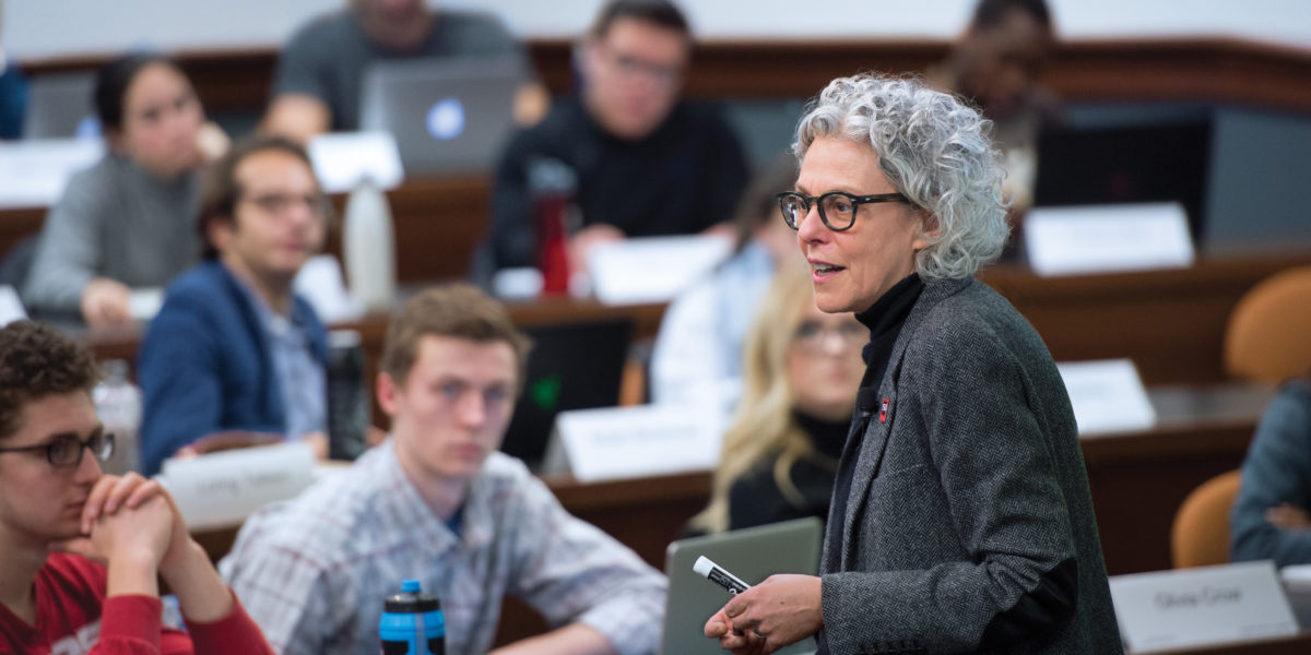 In January 2017, Professor Lee Epstein team-taught a three-day course on the Roberts court. Her co-instructor, Adam Liptak (not pictured), covers the Supreme Court for The New York Times. (Photo by Joe Angeles/WUSTL Photos)