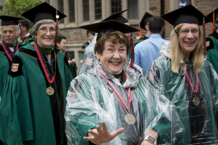 Members of the Class of 1967 celebrate their 50th Reunion, participating in the Commencement procession Friday, May 19, 2017. (Jerry Naunheim Jr./WUSTL Photos)