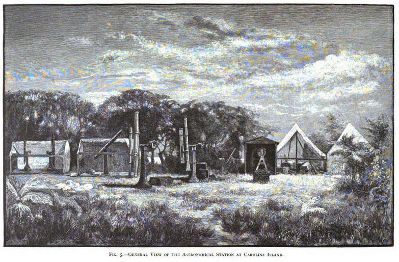 Edward Holden's eclipse observation base in Caroline Islands