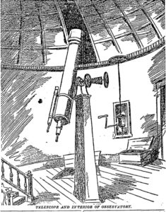 "The interior of Washington University's observatory with telescope as featured in a July 29, 1888, St. Louis Post-Dispatch story on how the facility is used to set ""St. Louis Time"" for the central United States and beyond."