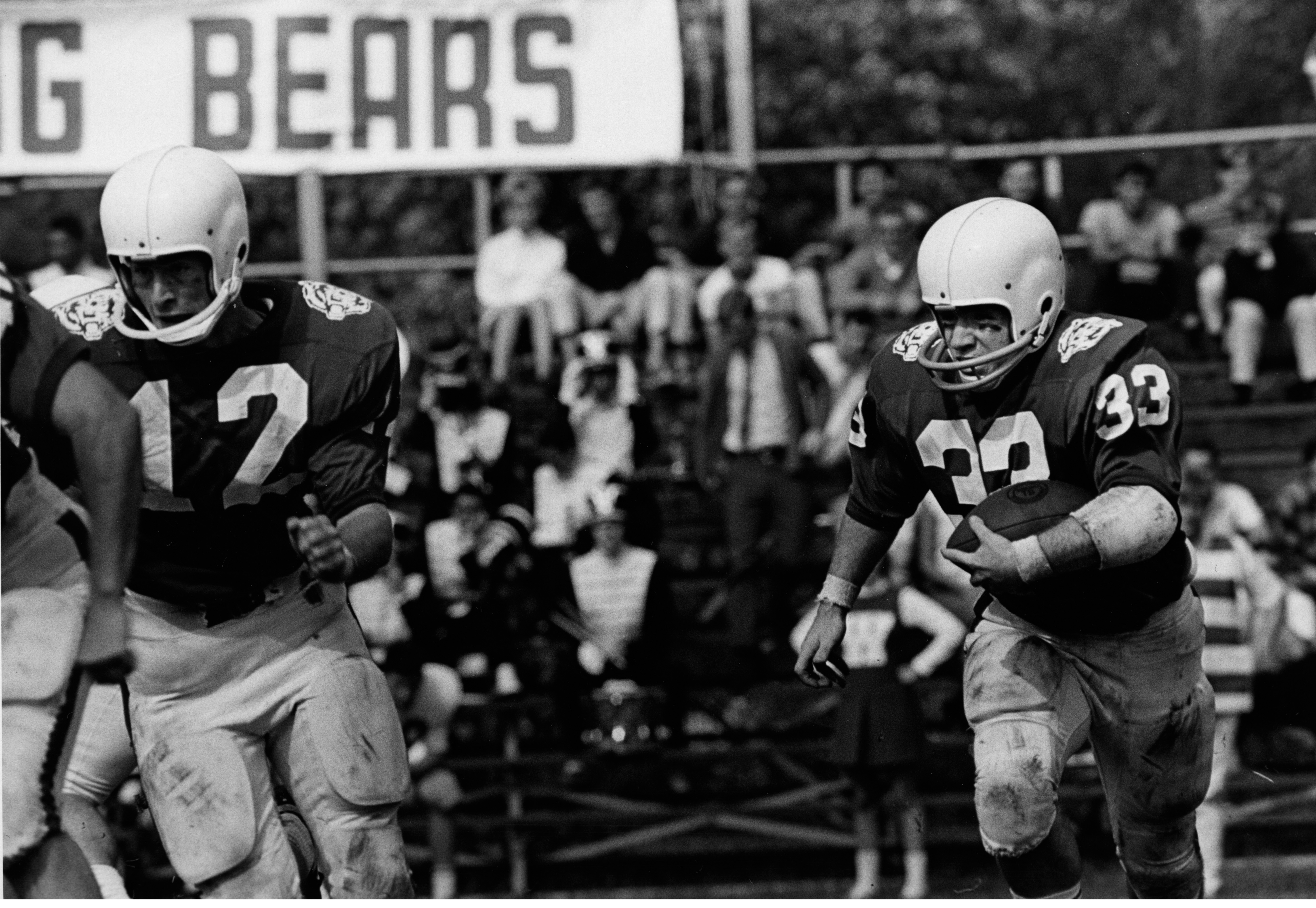 "The ""Battling Bears"" during a football game, 1967. (Washington University Archives)"
