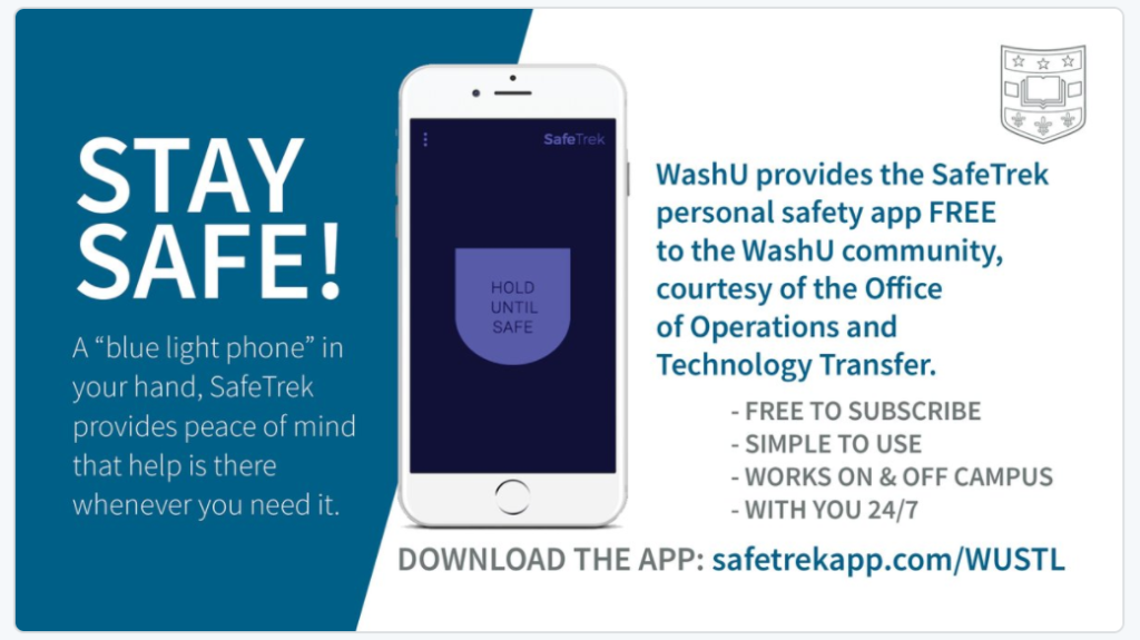 Reminder: SafeTrek safety app available for free to university