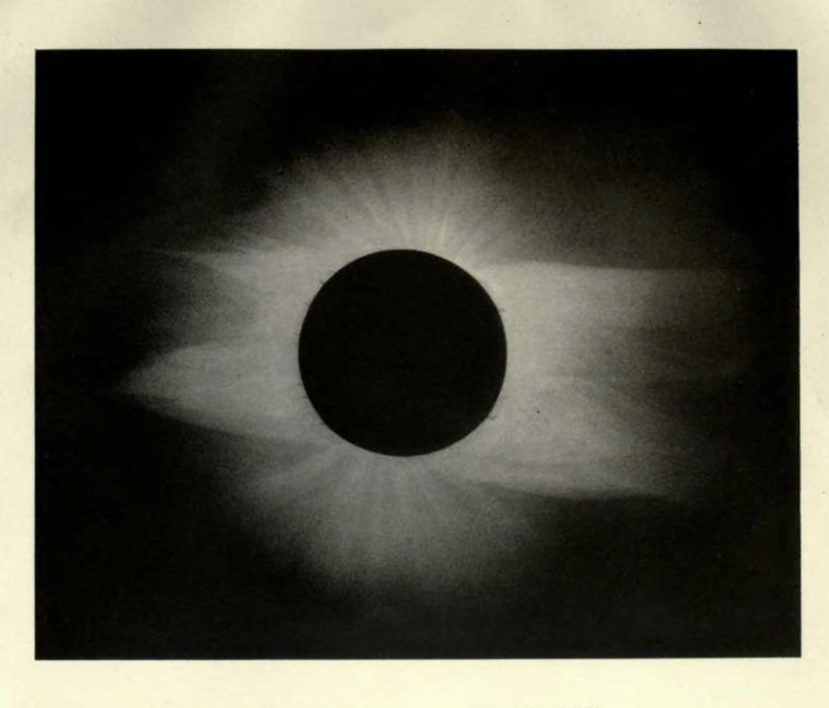 An image of the total solar eclipse of 1889 as recorded by the Washington University Eclipse Expedition to the Sacramento Valley of California.