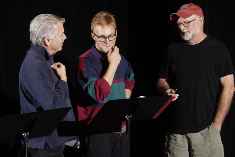 student works on play for Hotchner Festival