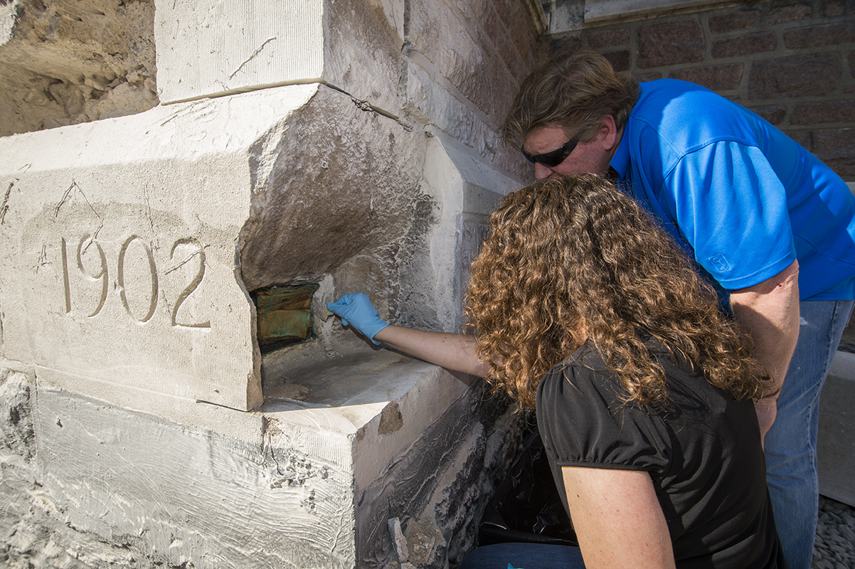 time capsule in the cornerstone of Francis Gymnasium