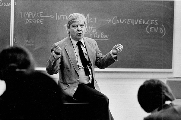 William Gass in a classroom