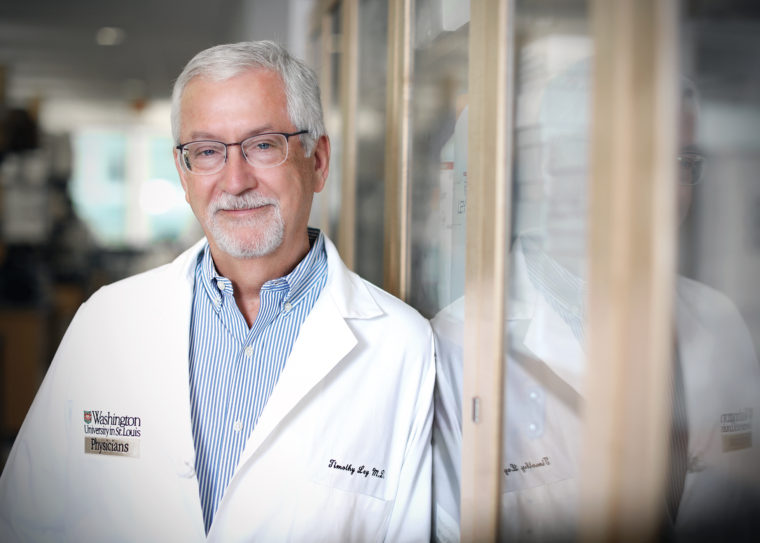 Timothy Ley, MD, the Lewis T. and Rosalind B. Apple Professor of Medicine, is a hematologist, oncologist and cancer biologist. For decades, the Ley lab has used mouse models of acute myeloid leukemia to establish key principles of AML pathogenesis. (Photo: James Byard)