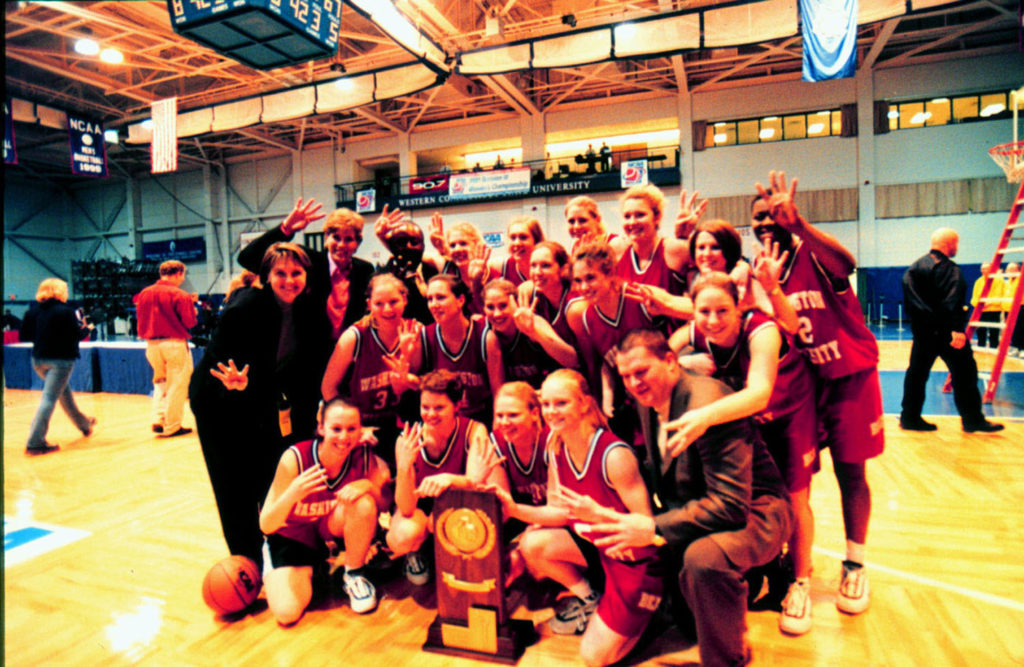 The women's basketball team won four consecutive NCAA Division III Championships from 1998 to 2001. The 2001 victory earned a No. 19 spot in Champion magazine's top 45 moments in women's collegiate sports, celebrating Title IX's 45th anniversary. (Washington University Archives)