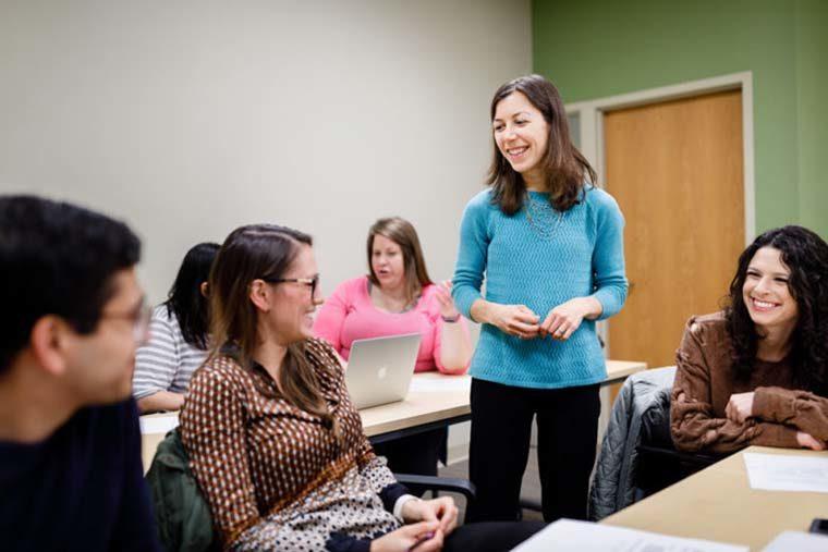 Mary Politi teaches a class