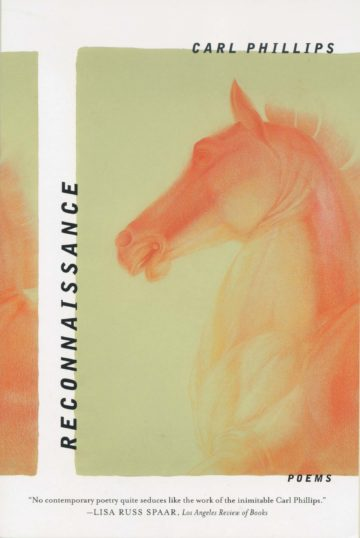 Book cover for Reconnaissance by Carl Phillips, features an orange horse