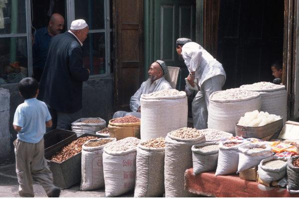 Market stall in the ancient Silk Road city of Kashgar (Xinjiang, China) in 2003. Photo by Michael Frachetti/Washington University.