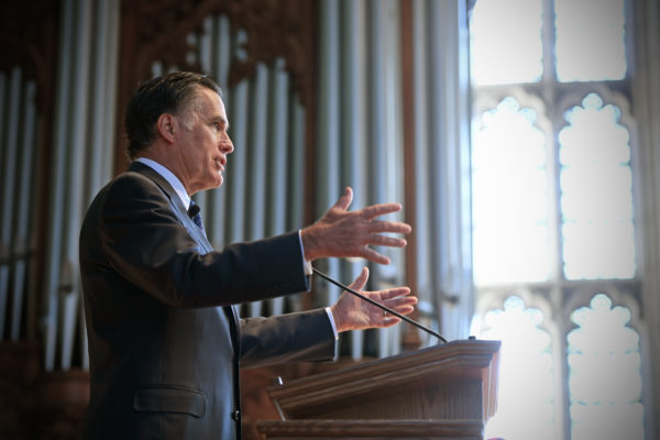 Mitt Romney speaking in Graham Chapel
