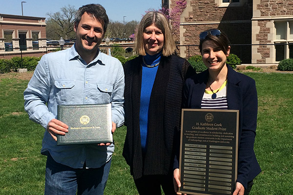 Anthropology students Ed Henry and Elissa Bullion (right) celebrate the receipt of a departmental service award named for former anthropology administrator Kathleen Clark (center).