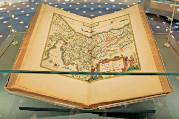 "University Libraries hold some 1,000 collections in the Julian Edison Department of Special Collections. On display on Level A of the Newman Tower of Collections and Exploration is Dutch cartographer Joan Blaeu's ""Atlas Maior…"" (Amsterdam, 1665) (James Byard/Washington University)"
