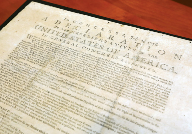 Thanks to the family of Eric and Evelyn Newman, the John M. Olin Library at Washington University now has one of the few surviving broadsides of the Declaration of Independence. (James Byard/Washington University)