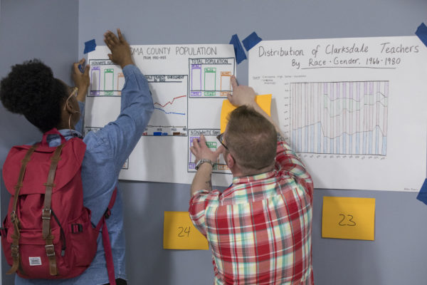 "Students in Professor David Cunningham's ""Introduction to Research Methods,"" with Joseph Anthony serving as assistant, created hand-drawn visual presentations of data associated with historical school desegregation patterns in Mississippi. (Joe Angeles/Washington University)"