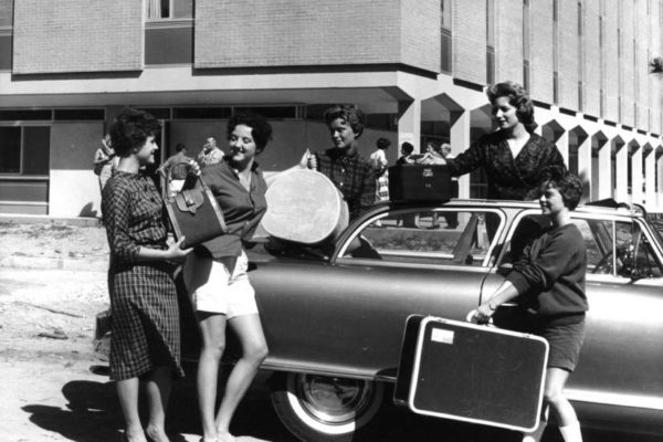 Freshmen women moving onto the South 40 in 1959.