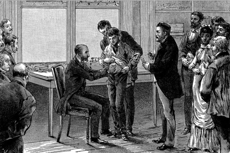 engraving of patient receiving a vaccine