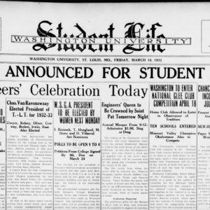 Student Life, March 18, 1932 (Courtesy of Washington University Archives)