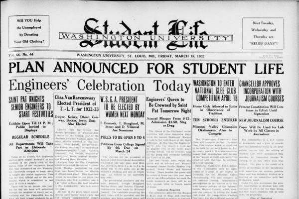 Student Life, March 18, 1932 (Courtesy of Washington University Archives)