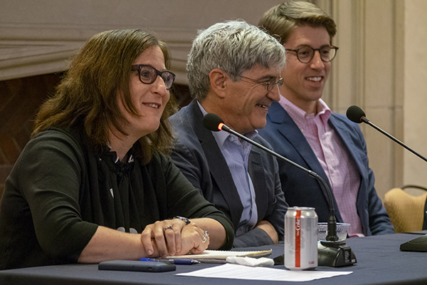 "Alumni who worked on the independent student newspaper Student Life gathered for a panel discussion, ""Journalism in the Age of Trump,"" on the Danforth Campus, Sept. 22, 2018. (Photo: Sid Hastings/Washington University)"