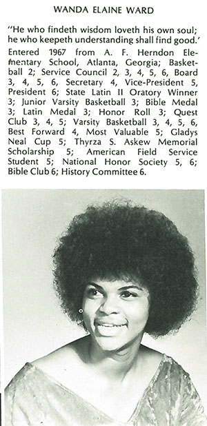 Wanda Ward, who entered Westminster Schools in 1967, became the first black female to graduate from the school in 1972. She attended Princeton University on a scholarship and completed a PhD in psychology at Stanford University before joining the National Science Foundation (NSF) in 1992. Her long career there included several top posts, including most recently as senior advisor to the NSF director. Image from Lynx Yearbook courtesy of Beck Archives-Westminster.