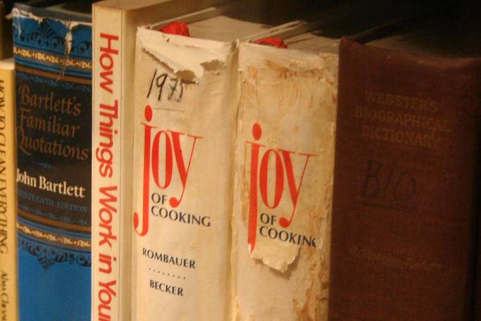 'Joy of Cooking' on bookshelf