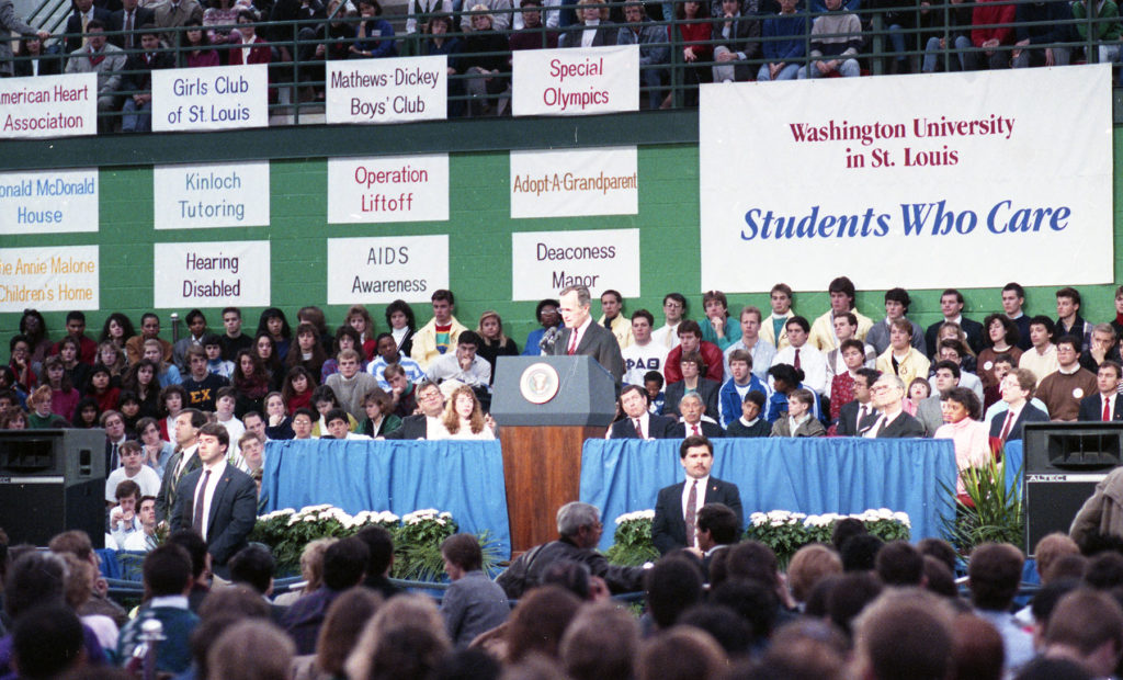 "President George H.W. Bush visited the Washington University campus Feb. 17, 1989, to promote his ""Thousand Points of Light"" volunteerism campaign."