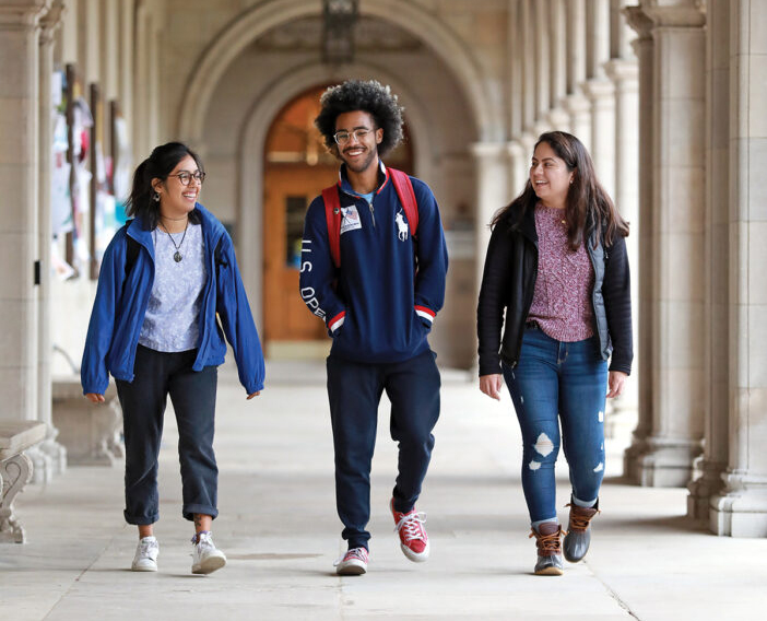 """A scholarship can transform a life. We prepare students to become leaders with the character, insight and skills to address the most urgent challenges of the 21st Century.""  –Mark S. Wrighton  Undergraduates (from left) Jazmin Garcia, Rob Hall and Carol Pazos are McLeod Scholars. The McLeod Scholars program honors the late James E. McLeod, a former vice chancellor for students and dean of the College of Arts & Sciences. Photo by James Byard /Washington University"