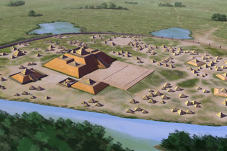 Artists conception of the Etowah site (9BR1), a Mississippian culture archaeological site located on the banks of the Etowah River in Bartow County, Georgia. Built and occupied in three phases, from 1000–1550 CE. All rights held by the artist, Herb Roe © 2016. Source: Wikipedia Commons.