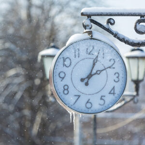 clock in the snow