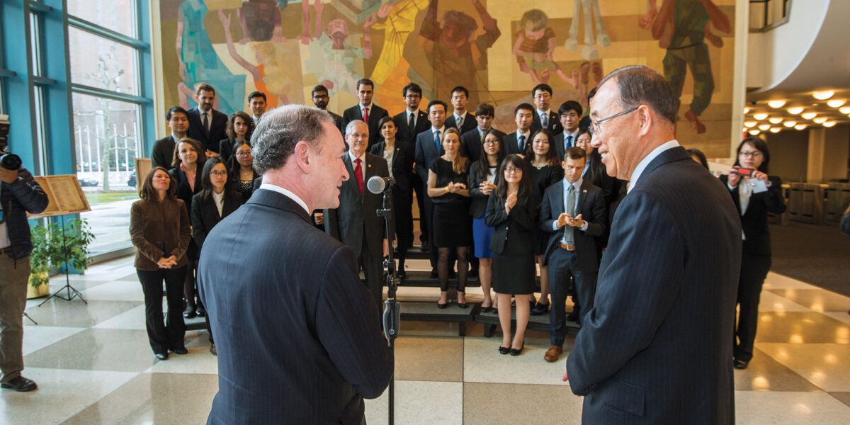 Mark Wrighton introduces then–UN Secretary-General Ban Ki-moon to the students of the McDonnell International Scholars Academy during a 2016 trip to the United Nations in New York. Photo by Joe Angeles