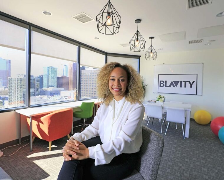 Morgan DeBaun, founder of Blavity, in her office, in Los Angeles, CA.