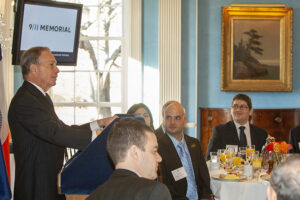 Mayor Bloomberg talks to Washington University's McDonnell International Scholars Academy students at Gracie Mansion, the mayor's official residence, while the students were on a tour of New York City in 2008.