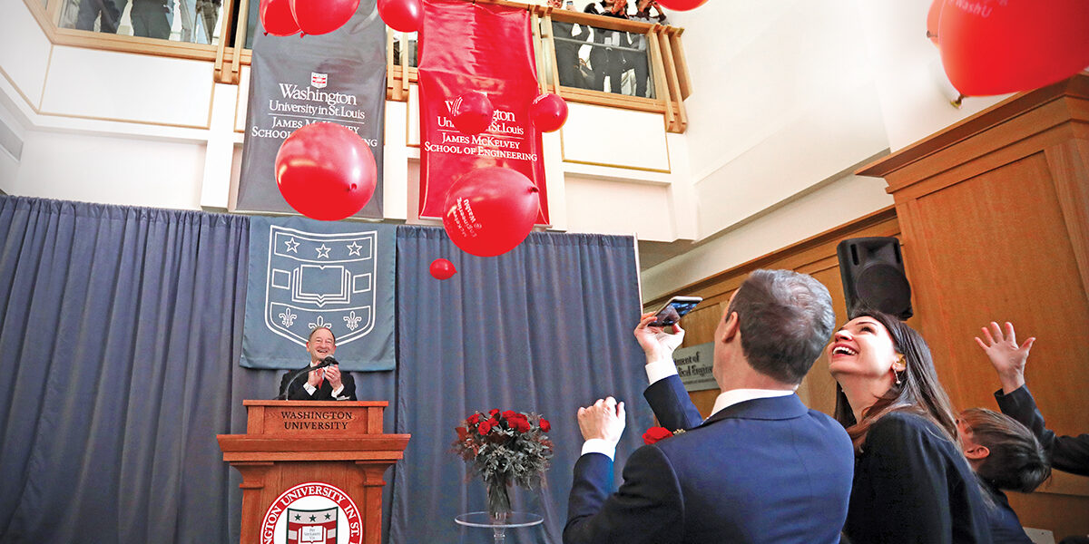 Chancellor Mark. S. Wrighton announces the naming of the McKelvey School of Engineering. (Photo: James Byard/WUSTL Photos)