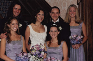 Risa Zwerling Wrighton and Mark S. Wrighton in Harbison House on their wedding day with their children.