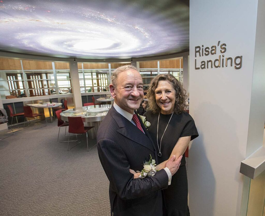 Mark Wrighton and Risa Zwerling Wrighton at Risa's Landing in Olin Library. Photos by Joe Angeles/Washington University