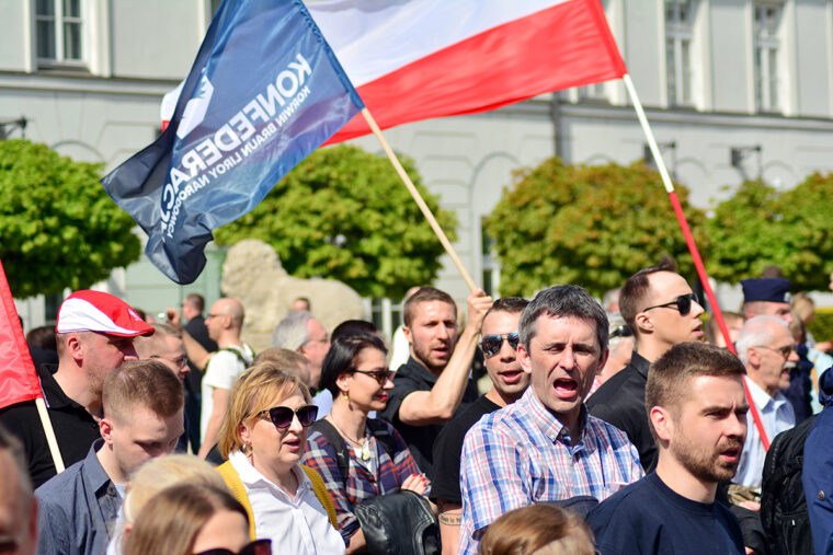 How citizens remember a nation's past glories and tragedies may spur the mobilization of nationalist protest movements, such as this May 2019 rally in Poland to protest the country's membership in the European Union. Shutterstock Image.