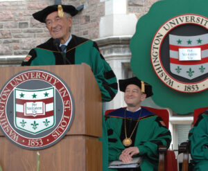 Elie Wiesel visited the university four times during his lifetime. In 2011, the Holocaust survivor, author and Nobel laureate served as Commencement speaker, discussing the power of love, acceptance and grace. (Photo: Joe Angeles)