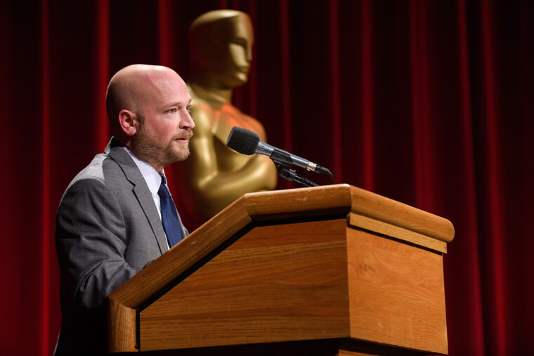 Nicholl Fellow Joey Clarke, Jr. during the Academy of Motion Picture Arts and Sciences' presentation of its 2018 Academy Nicholl Fellowships Screenwriting Awards & Live Read on November 8, in Beverly Hills.