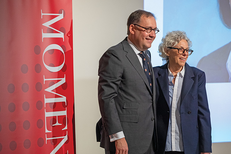 Lee Epstein, the Ethan A.H. Shepley Distinguished University Professor, served as emcee of the inauguration symposium, including introducing Chancellor Andrew D. Martin to attendees.