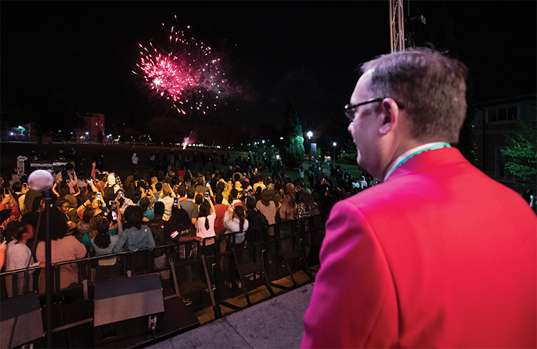 At the end of the evening, after all the official events had been held and inspiring talks and speeches had been given, Chancellor Martin rejoined the student celebration on Mudd Field for a fireworks display — an exciting end to a momentous day.