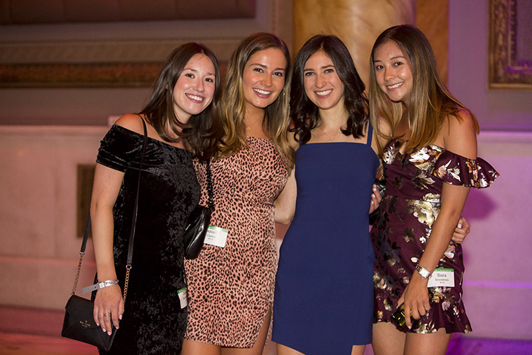From left: Alexa Greenberg, AB '18; Danielle Carley, BSBA '18; Allison Swimmer, AB '17; Sara Bernstein, BSBA '18; enjoy the New York Young Alumni Gala at Capitale in the Bowery, Sept. 6, 2019. (Photo: Jennifer Weisbord, BFA '92)