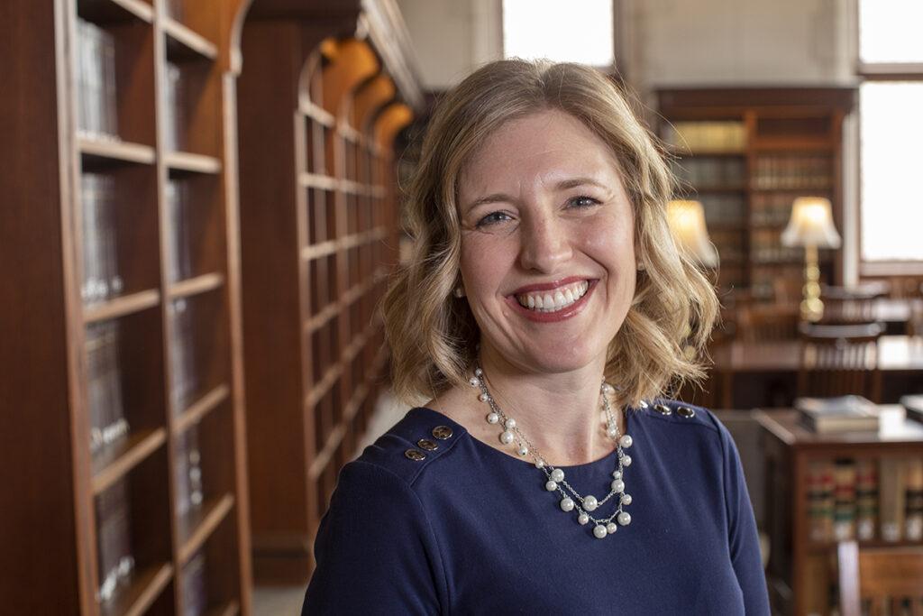 Professor Katie Herbert Meyer in the Law Library at Washington University