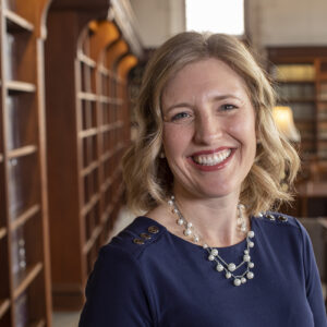 Professor Katie Herbert Meyer in the Law Library at Washington University
