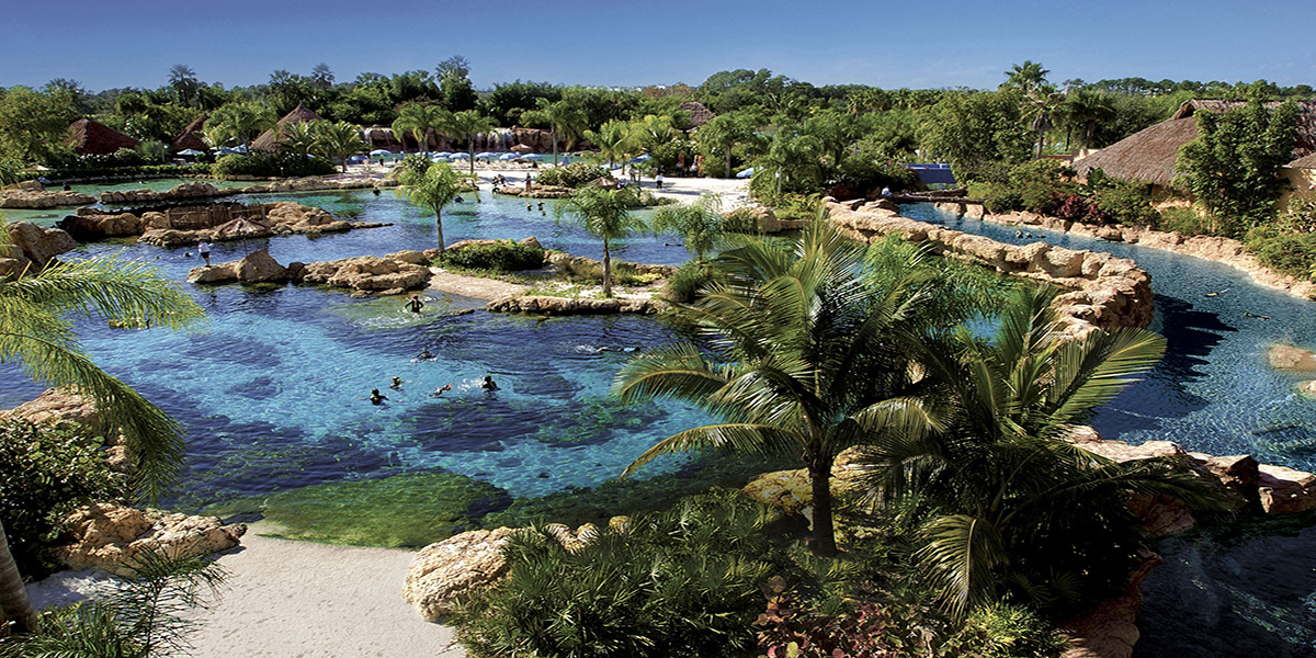 PGAV Destinations designed Discovery Cove, a theme park in Orlando, Florida, owned and operated by SeaWorld Parks & Entertainment.